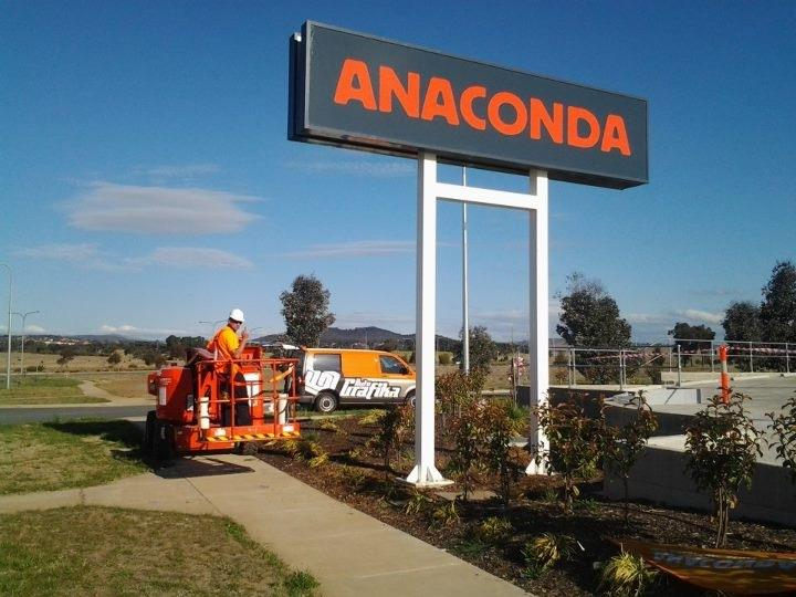 The new Anaconda sign that we wired up for Autografika in Fyshwick